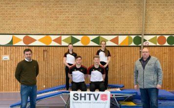 Links unten Patrick Ehlert und rechts daneben Hannes König Links oben Anastasia Heinrich und rechts daneben Imani Saprautzki Links Stefan Diephaus (Geschäftsführer) / Rechts Jörg Henkel (VP Olympischer Spitzensport)